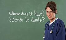 Nurse teacher translating English to Spanish