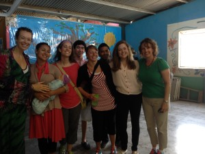 Group of medical students and healthcare professionals giving health education in Costa Rica
