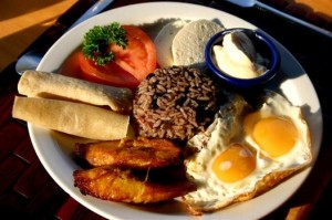 Gallo pinto, a typical breakfast dish in Costa Rica