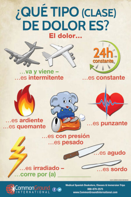 Type of Pain Poster- Pain Chart in Spanish