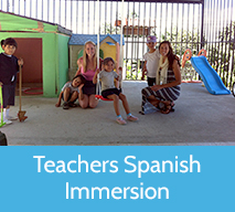 Teachers play with students while on Spanish immersion for teachers