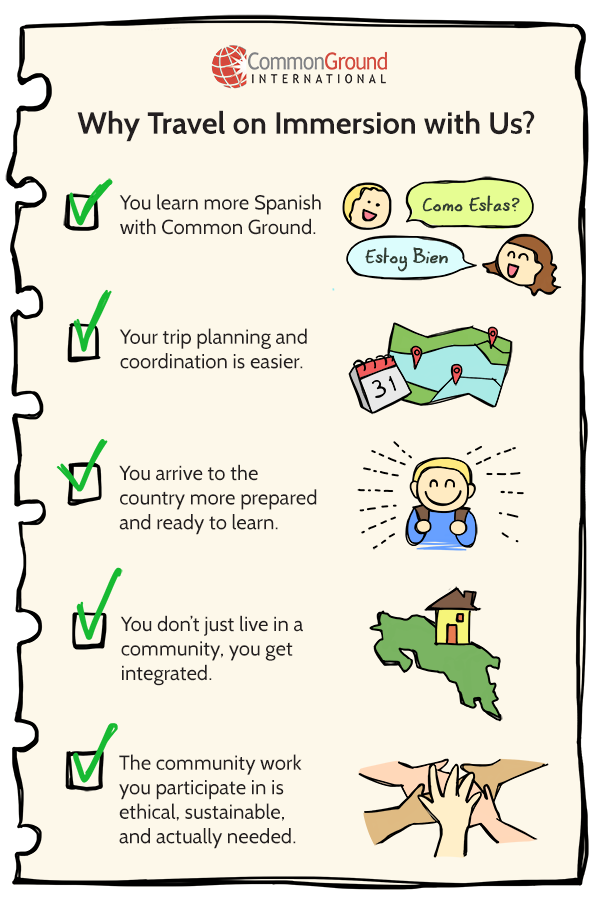 5 reason checklist to travel on Spanish immersion with Common Ground International