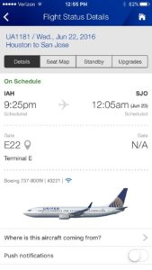 United Flight Itinerary on mobile