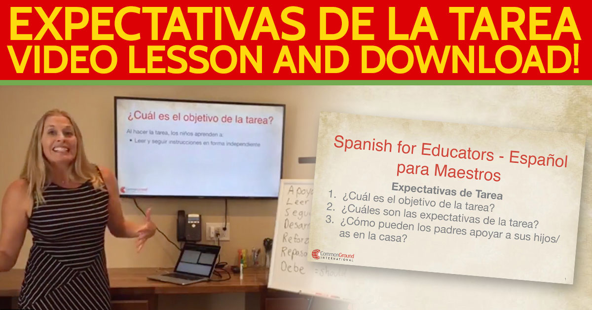 Spanish for Educators – Talking About Homework Expectations in Spanish