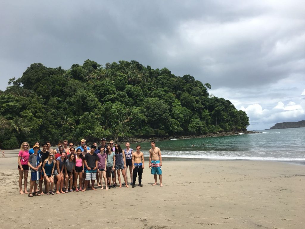 Spanish immersion high school students on the beach