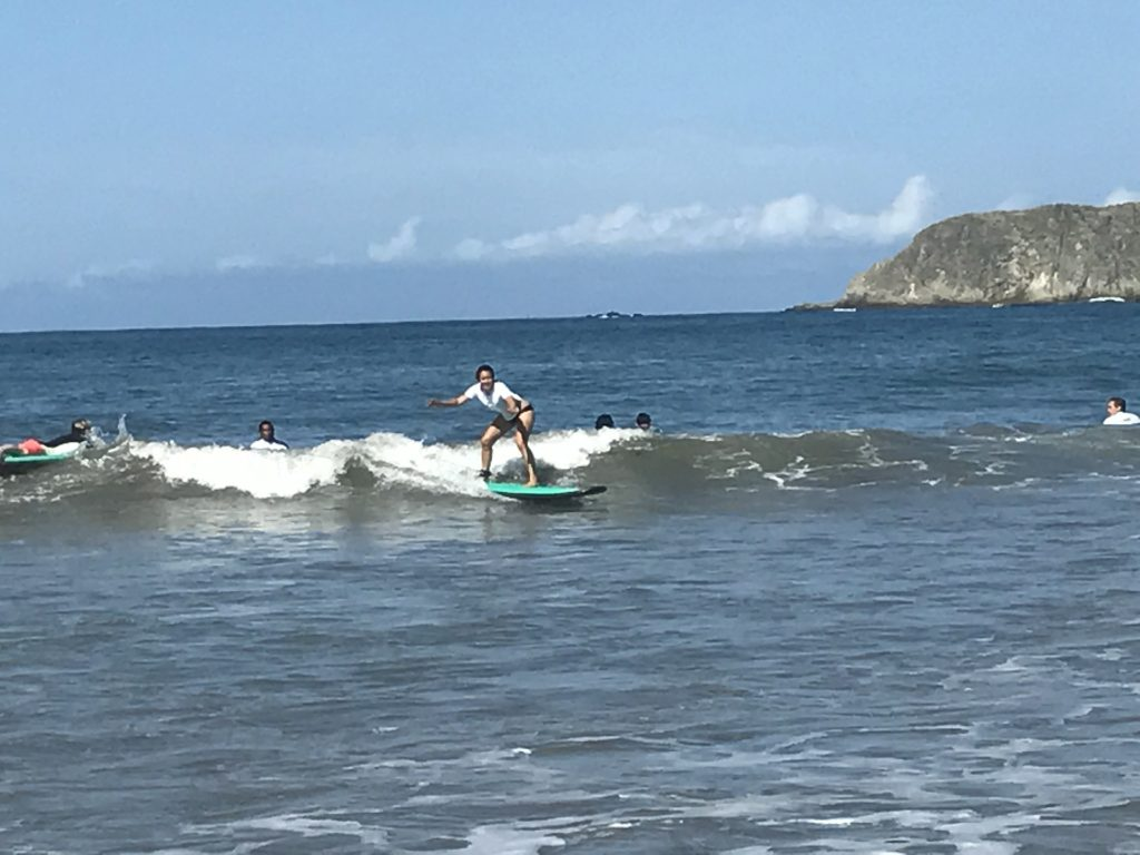 Learning how to surf on Spanish immersion in Costa Rica