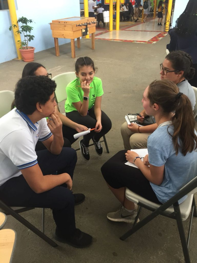High school immersion participants getting to know Costa Rican students
