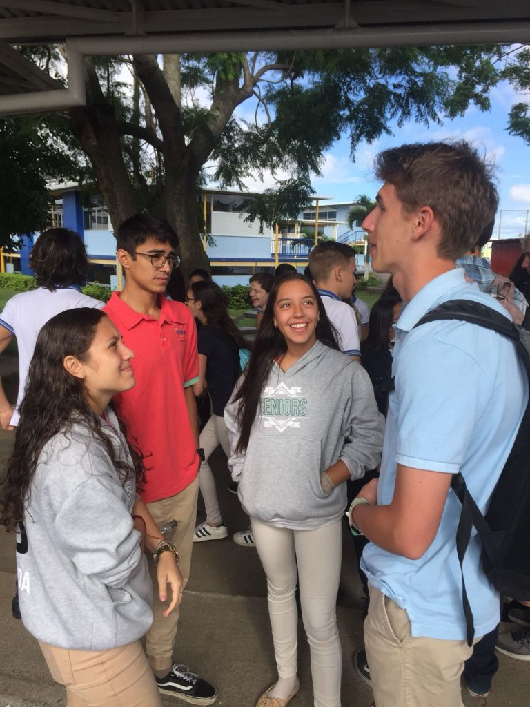American and Costa Rican students meeting for a language exchange